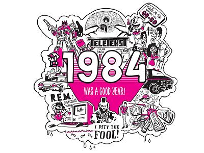 1984 Was a good Year! super mario ghostbusters zelda transformers discman pacman gremlins seinfeld a-team paperboy macintosh
