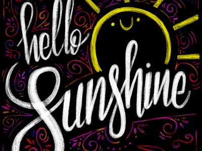 Hello sunshine krijt chalkboard chalk quote apple pencil ipadpro procreate sun