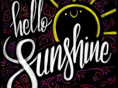 Hello sunshine krijt chalkboard chalk quote apple pencil ipadpro procreate sun