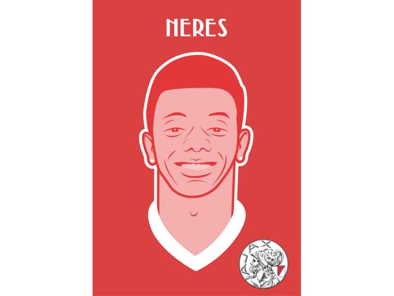 David Neres Brazilian Soccerplayer AFC Ajax sport soccer flat ajax afc ajax vector illustrator character illustration