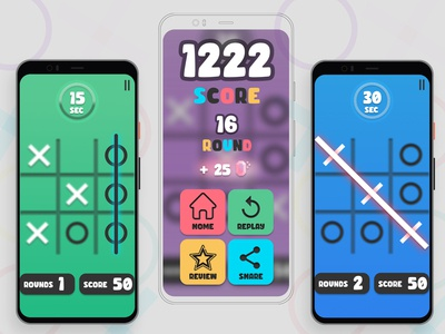 Tic Tac Toe Game arcade ui design app game design game tic tac toe
