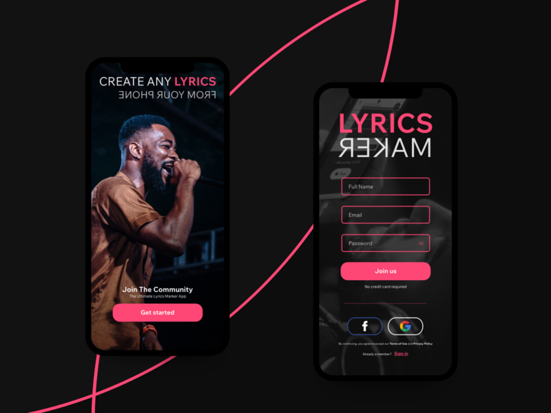 Lyrics Maker App - AdobeXD Playoff fun ui adobexd vocals rapper rap signup signupform uiuxdesign music app app music lyrics design win adobexd playoff rebound adobe xd