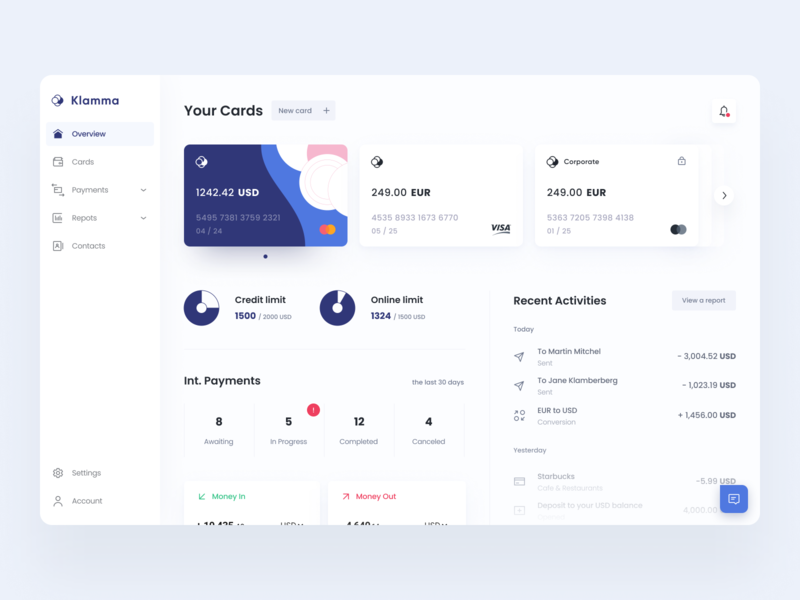Klamma | Online banking dashboard mobile bank online bank neobank account web app credit limit transaction history bank ui banking app web application fintech finance credit cards balance bank dashboard dashboard money transfers online banking banking