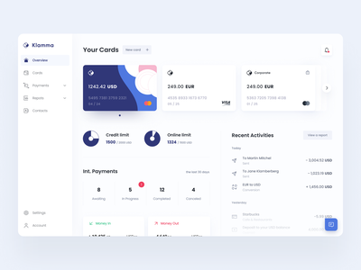 Klamma | Online banking dashboard finance management fintech app finance app neobank account credit limit transaction history banking app web application fintech finance credit cards dashboard banking