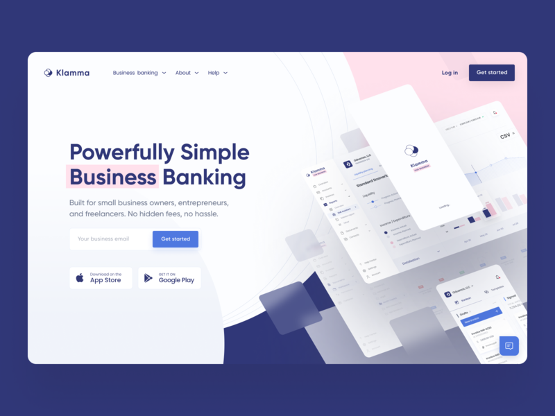 Klamma | Landing page for business bank bank app bank website ux ui neobank bank website money manager finance fintech product page bank landing page landing page web app app banking application banking app online banking banking business bank