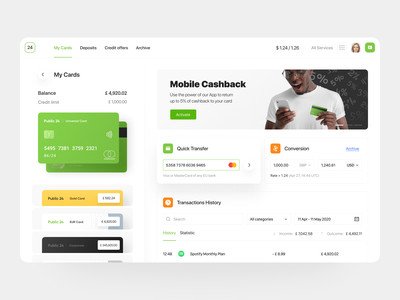 Public24 | Online Banking - Card Overview finance dashboard website fintech app finance app application credit limit finance dashboard money sending currency exchange transactions money transfer neobank fintech online bank banking