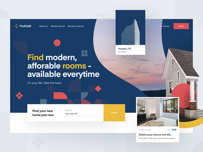 PadSplit – Landing page | Hero section renting membership property management rental property online portals apartment proposals offers split house ux ui website hero section search affordable housing saas promo website landing page rental real estate