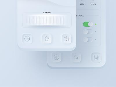 Radio Player App 🎛 | Neumorphic concept radio player skeuomorphism ui player music app sound waves neumorphic app mobile app switch toggle 3d animation tuner broadcast app radio ios application app neomorphism neumorphism