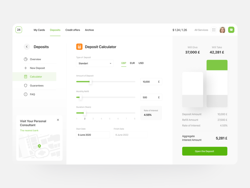 Public 24 🏦 | Deposit calculator in online banking website ui ux design system online banking app interest rate money online banking saas mobile bank web application web app application banking app fintech finance calculator deposit