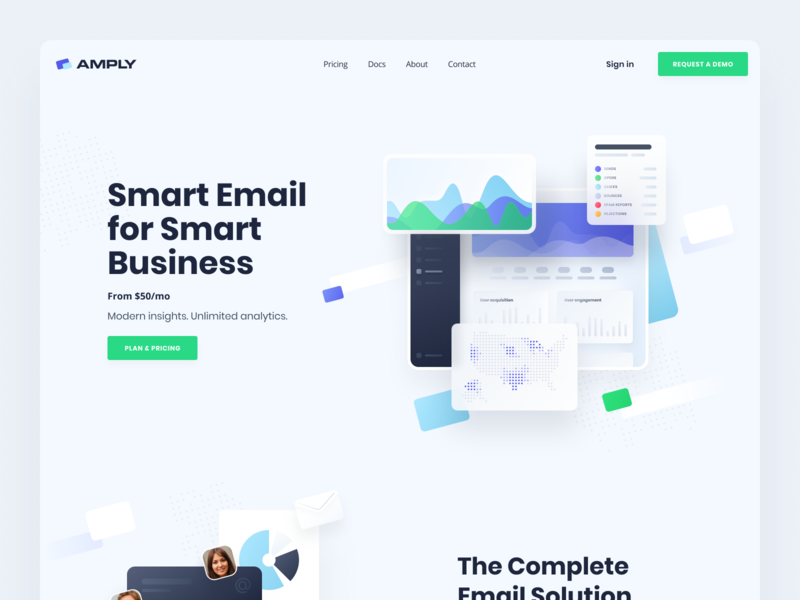 SendAmply | Marketing platform 📨 analytics chart analitycs webdesign presentation marketing tool saas landing page product page corporate hero section marketing automation marketing platform b2b email neuomorphism website saas website landing page web application saas web app
