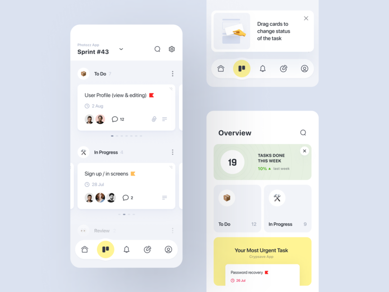Submarine 🍋 | Task Manager | Kanban ux ui management app task status task priority card slider onboarding cards management dashboard toolbar assignment app design kanban task manager mobile application ios app