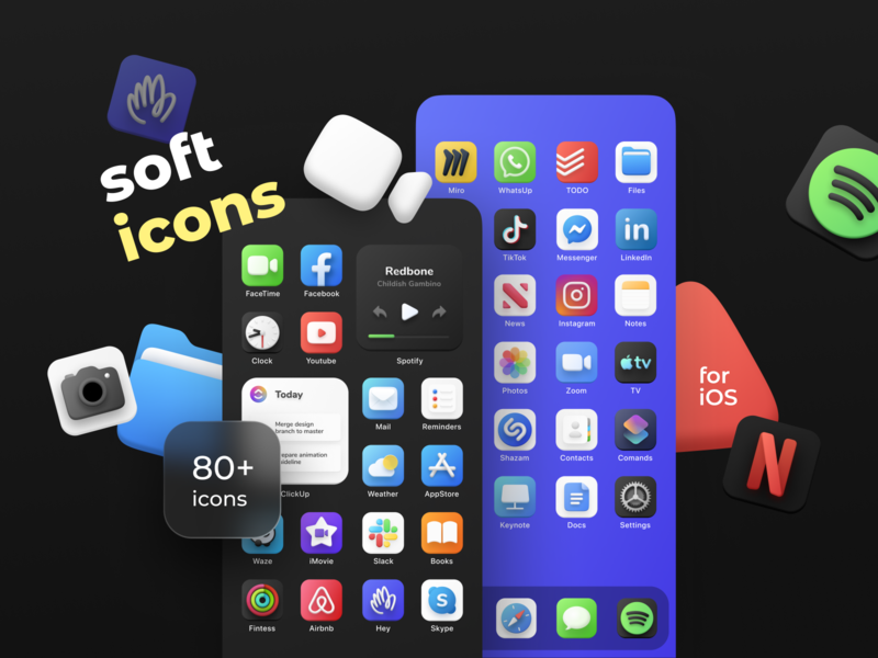 Softicons | iOS apps skin art ui iconset soft ui ios icons