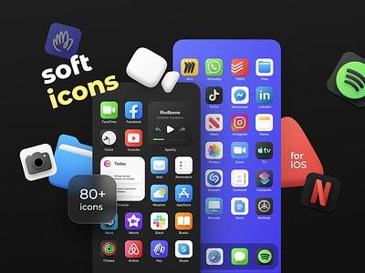 Softicons | iOS apps skin art ui iconset soft ui ios icons