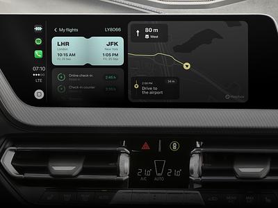 Wefly | CarPlay app schedule app dashboard ui car dashboard navigation ios app mobile app app ui flight manager time management planner saas product design device ui carplay