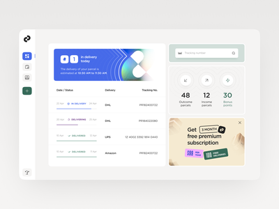 PRCL 📦 | Parcel tracking service statistics delivery service managment dashboard ui product design web application sidebar delivery manager saas app web app parcel tracking delivery status tracking app delivery app dashboard app dashboard parcel