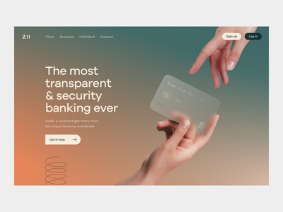 ZII Neobank | Hero section neobank landing banking landing bank card fintech landing fintech website online banking finance financial website fintech hero section credit card product page banking app mobile banking neobank landing page banking website bank