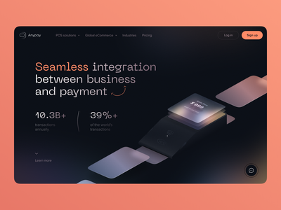 Anypay | POS hero section finance payment terminal ecommerce landing page ecommerce financial services fintech identity fintech product landing pages fintech website fintech landing financial website fintech atomic system visual identity product design product page landing page hero section pos terminal