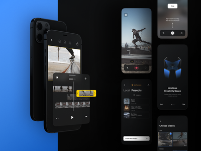 SYYNCC | Video Editor atomic system visual identity video tool layers video collage synchronization onboarding color correction montage product design ios app video app video editor