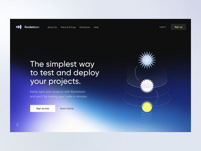 Rocketoon | 🛠 Development Tool web app app website landing page cloud platform hero section deployment design system branding visual identity product page developments dev platform developer tools frontend development dev tools