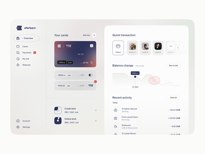 Eferbarn | Neobank dashboard balance money transfer bank fintech app spendings visual identity web app banking app credit limit transaction credit card dashboad financial app fintech branding fintech identity bank identity banking dashboard fintech neobank product