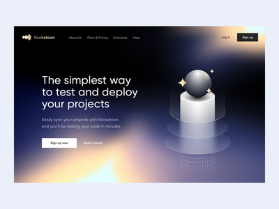 Rocketoon | Hero section brand identity deploy app branding visual identity development tool devtool hero section product page saas landing page webapp landing page