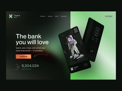 Ovalca 💳 Neobank | Landing page bank card nft financial fintech branding banking website bank identity visual identity banking app hero section landing page product page credit card finance neobank online banking fintech bank