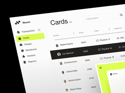Nexon | Finance Management - Corporate Cards bank card fintech application visual identity saas app product financial app online banking dashboard account credit card corporate card management tool fintech design system web app bank app