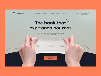Elaster Bank | Hero section financial technology neobank website credit card neobank visual identity mobile banking fintech website finance banking website product page hero section landing page fintech