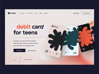 Oteen | Bank for teenagers defi fintech identity visual idenity debit card credit card saas website fintech landing page hero section product page landing page finances fintech app fintech website fintech banking card online banking banking website banking app bank neobank