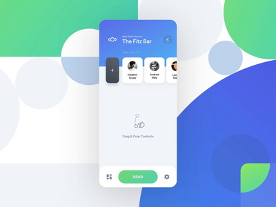 Multi-invoice creation friends multi-invoice drag and drop invoice payment money microfinance adding contacts swipe loan ios interaction fintech finance app debt control app debt application app animation