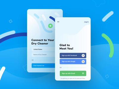 CleanCloud | Enter screens saas design saas app saas log in background animation laundry aggregator sign up sign in enter clothes animation motion illustration ios dry cleaner dry clean application app