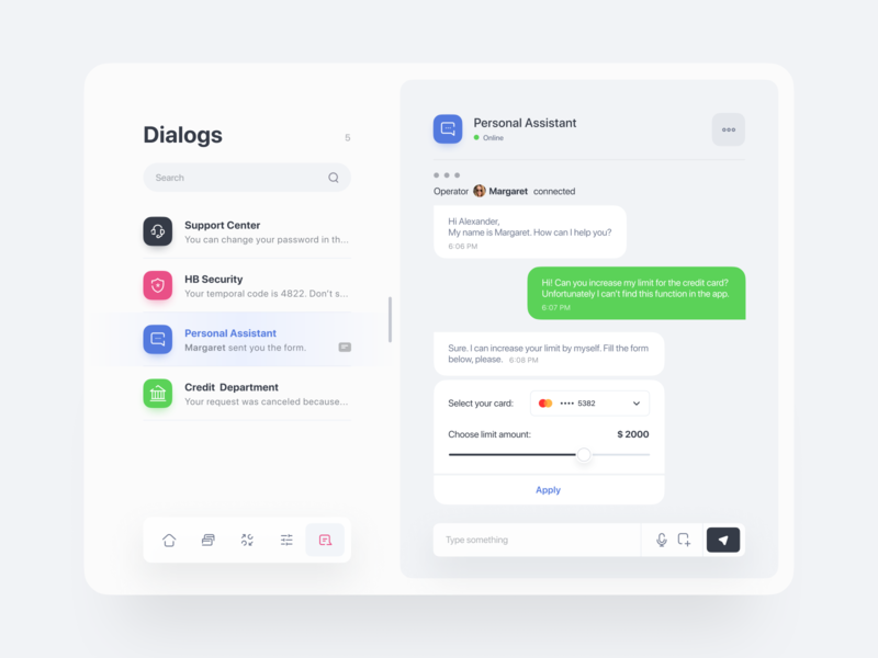 Tablet Banking App | Bank Chat credit limit credit department support conversation dialogue chat data finance app bank credit card ux ui banking app banking ipad ios finance fintech application app