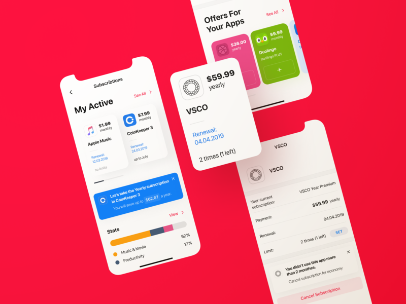 Subscription Manager | Native App Concept finance manager economy money keeper subscription manager notification fintech application offer statistics advice concept manager subscription finance apple ios application app native app ux ui