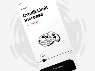 Credit Limit Increase 💰| Mobile banking app interaction bank request finance app fintech mobile banking app banking coin money ios increase price drag credit card credit limit finance application app animation ux ui