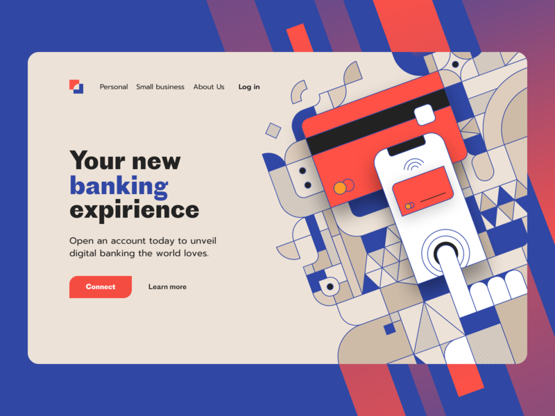 Online Bank | Hero Section concep patterns corporate landing hero section card credit card fintech finance illustration mobile banking banking online bank bank website homepage section hero ux ui