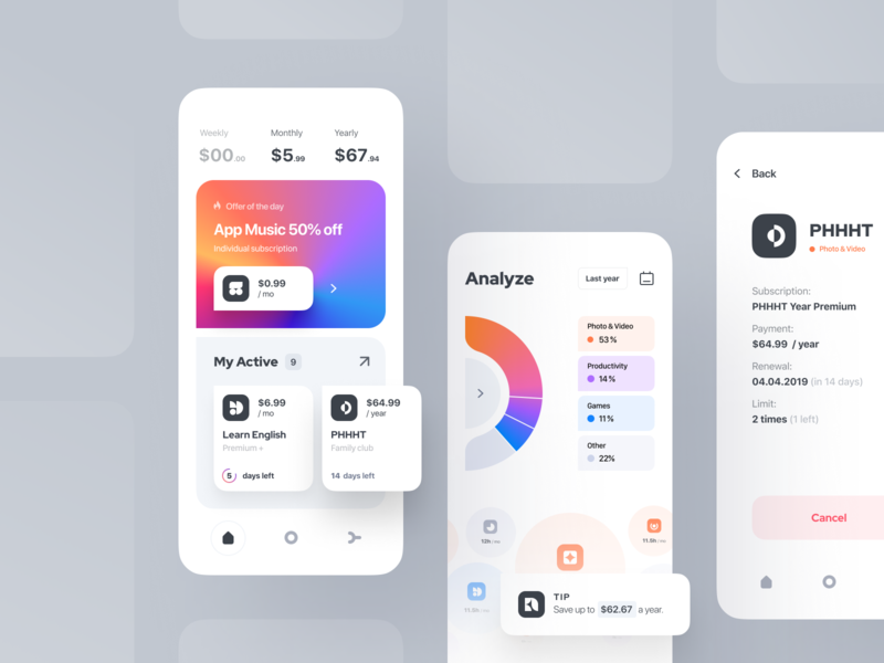 Subscription manager | iOS app dashboard saas money keeper subscription manager notification fintech application offer statistics advice concept manager subscription finance apple ios application app native app ux ui