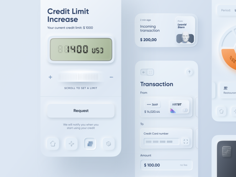Skeuomorph Mobile Banking | Continuation lending dashboard credit card number money sending transaction credit request credit increase finance analytics spendings credit limit balance card mobile banking skeuomorph app application finance app saas fintech banking credit card