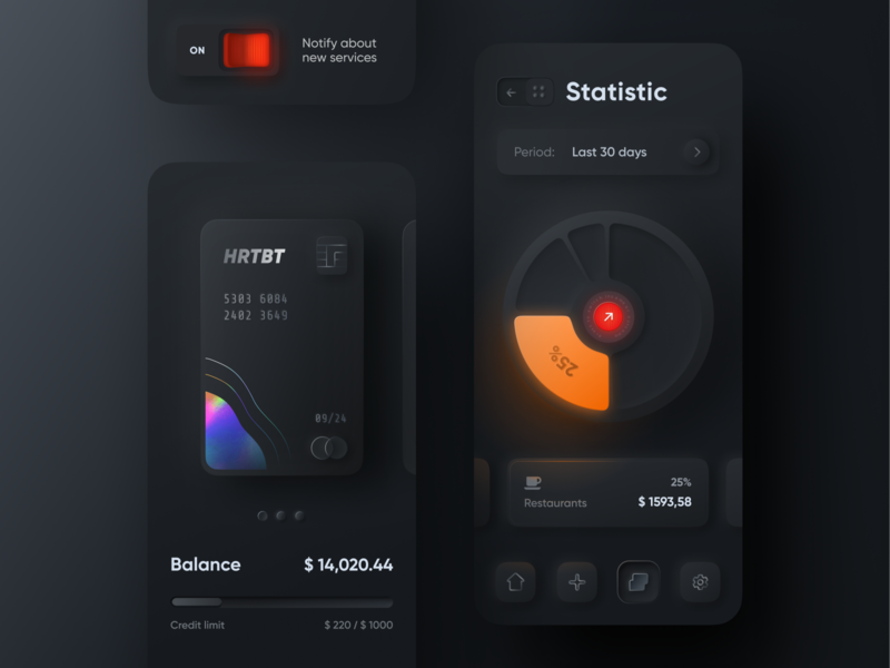 Skeuomorph Mobile Banking | Dark Mode 🌘 lend lending dashboard night mode glow dark mode finance analytics spendings credit limit balance money pie chart mobile banking skeuomorph app application finance app saas fintech banking credit card