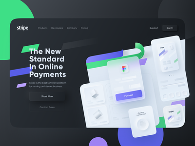 Stripe Landing Page | Neomorphism ux ui purchase payment confirmation online shopping e-commerce finance website fintech payment service skeuomorphism mobile banking saas fintech landing page online payment neomorphism payment finance  landing page