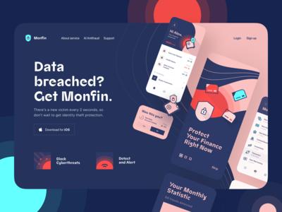 Monfin app. Finance Anti-fraud. Landing