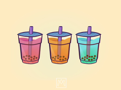 Bubble tea ! procreate boba bubbletea icon design logo illustration