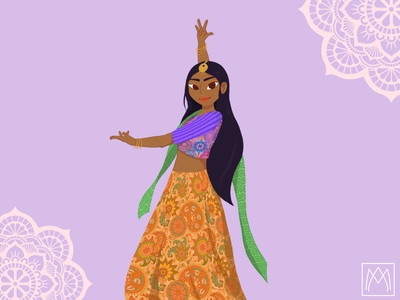 Bollywood girl illustrator photoshop vector pastel colors design procreate illustration