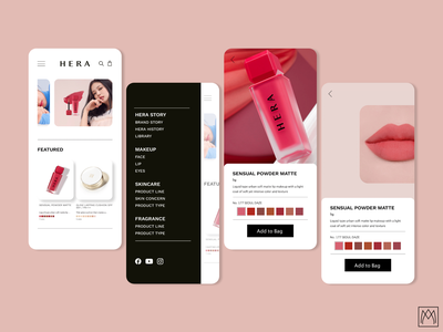 HERA Makeup App interface jennie blackpink kpop app design app makeup ui design
