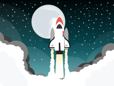 Flat Rocket vector flat illustration rocket
