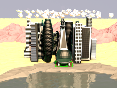 Desert City skyscrapers skyline city desert low poly 3d