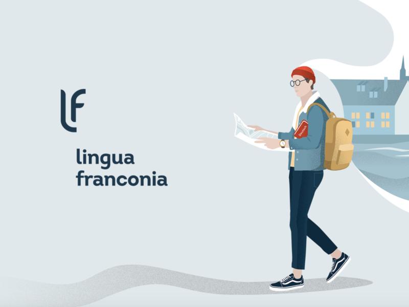 Lingua Franconia branding logotipo logodesign illustration man young cologne germany school branding branding graphic design language school design language school school graphicdesign logotype logo