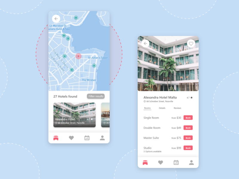 Hotel Booking App Concept reservation book mobile ui mobile ui options map app design hotels hotel travel booking app