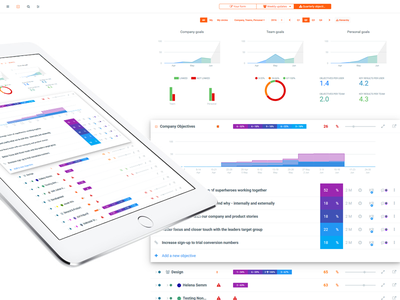 Weekdone - iPad app featured by Apple 🍏 rainbow colors flat charts grid dashboard material app teaser featured apple ipad