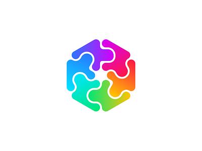 Flow 🙏 hexagram flow arrows figma neon gradient symmetric symmetry ambigram geometric