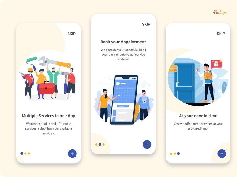 Onboarding Screen (Multi Service App) ui ux design typography service onboarding screen color illustration app ui figma design
